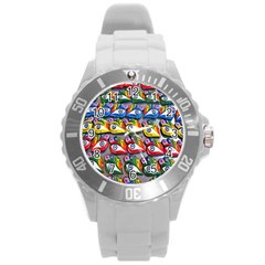 The Eye Of Osiris As Seen On Mediterranean Fishing Boats For Good Luck Round Plastic Sport Watch (L)
