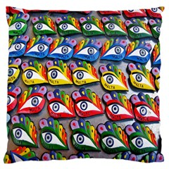 The Eye Of Osiris As Seen On Mediterranean Fishing Boats For Good Luck Large Cushion Case (two Sides)