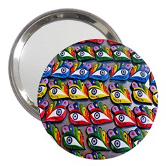 The Eye Of Osiris As Seen On Mediterranean Fishing Boats For Good Luck 3  Handbag Mirrors