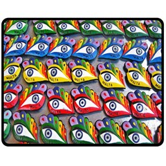 The Eye Of Osiris As Seen On Mediterranean Fishing Boats For Good Luck Double Sided Fleece Blanket (medium)