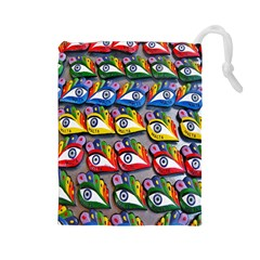 The Eye Of Osiris As Seen On Mediterranean Fishing Boats For Good Luck Drawstring Pouches (Large)