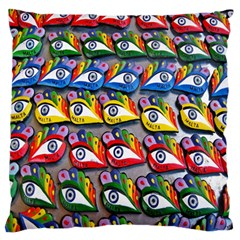 The Eye Of Osiris As Seen On Mediterranean Fishing Boats For Good Luck Large Flano Cushion Case (One Side)