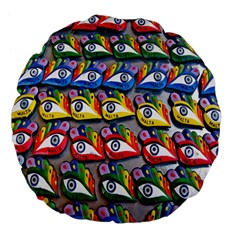 The Eye Of Osiris As Seen On Mediterranean Fishing Boats For Good Luck Large 18  Premium Flano Round Cushions