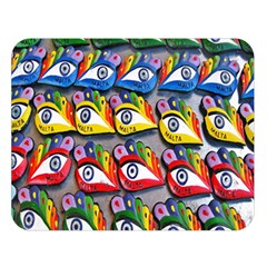 The Eye Of Osiris As Seen On Mediterranean Fishing Boats For Good Luck Double Sided Flano Blanket (Large)