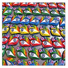 The Eye Of Osiris As Seen On Mediterranean Fishing Boats For Good Luck Large Satin Scarf (square)