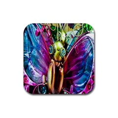 Magic Butterfly Art In Glass Rubber Coaster (square)