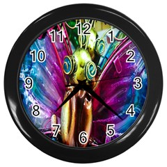 Magic Butterfly Art In Glass Wall Clocks (Black)