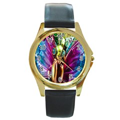 Magic Butterfly Art In Glass Round Gold Metal Watch