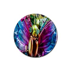 Magic Butterfly Art In Glass Rubber Coaster (round)