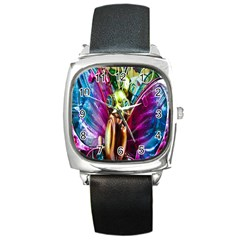 Magic Butterfly Art In Glass Square Metal Watch