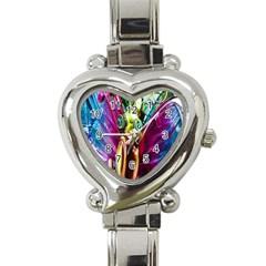 Magic Butterfly Art In Glass Heart Italian Charm Watch