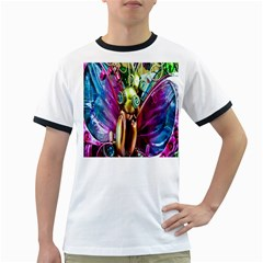 Magic Butterfly Art In Glass Ringer T-Shirts