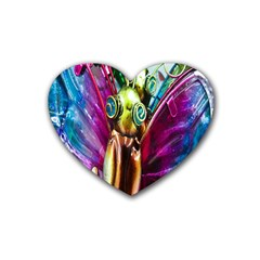 Magic Butterfly Art In Glass Heart Coaster (4 pack)