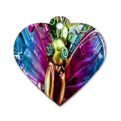 Magic Butterfly Art In Glass Dog Tag Heart (Two Sides)