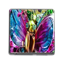 Magic Butterfly Art In Glass Memory Card Reader (Square)