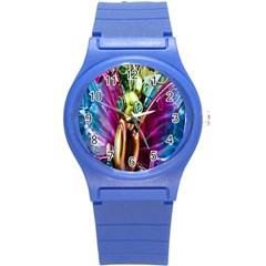Magic Butterfly Art In Glass Round Plastic Sport Watch (S)