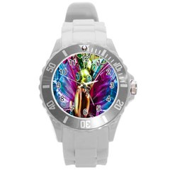 Magic Butterfly Art In Glass Round Plastic Sport Watch (L)