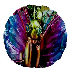 Magic Butterfly Art In Glass Large 18  Premium Round Cushions