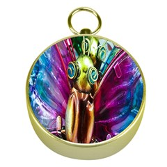 Magic Butterfly Art In Glass Gold Compasses