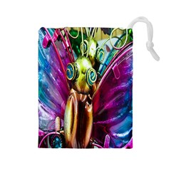 Magic Butterfly Art In Glass Drawstring Pouches (Large)