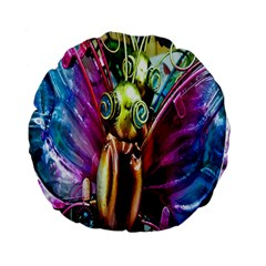 Magic Butterfly Art In Glass Standard 15  Premium Flano Round Cushions
