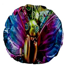 Magic Butterfly Art In Glass Large 18  Premium Flano Round Cushions