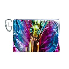 Magic Butterfly Art In Glass Canvas Cosmetic Bag (M)