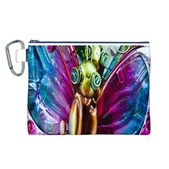 Magic Butterfly Art In Glass Canvas Cosmetic Bag (l)