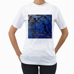 Glass Abstract Art Pattern Women s T Shirt (white) (two Sided)