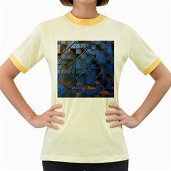 Glass Abstract Art Pattern Women s Fitted Ringer T-Shirts