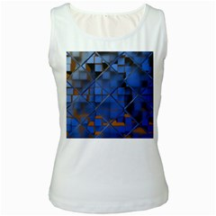 Glass Abstract Art Pattern Women s White Tank Top
