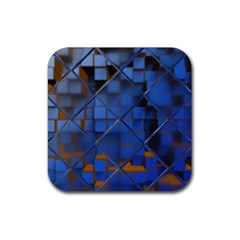 Glass Abstract Art Pattern Rubber Square Coaster (4 pack)