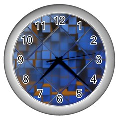 Glass Abstract Art Pattern Wall Clocks (silver)