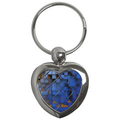 Glass Abstract Art Pattern Key Chains (heart)