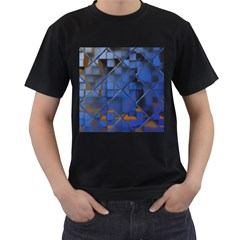 Glass Abstract Art Pattern Men s T Shirt (black) (two Sided)