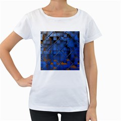 Glass Abstract Art Pattern Women s Loose-Fit T-Shirt (White)