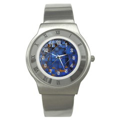 Glass Abstract Art Pattern Stainless Steel Watch