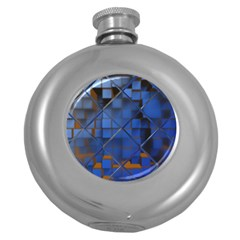 Glass Abstract Art Pattern Round Hip Flask (5 oz)