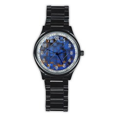 Glass Abstract Art Pattern Stainless Steel Round Watch
