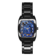 Glass Abstract Art Pattern Stainless Steel Barrel Watch