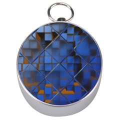 Glass Abstract Art Pattern Silver Compasses