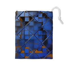 Glass Abstract Art Pattern Drawstring Pouches (Large)