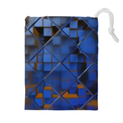 Glass Abstract Art Pattern Drawstring Pouches (Extra Large)
