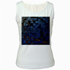Background Abstract Art Pattern Women s White Tank Top