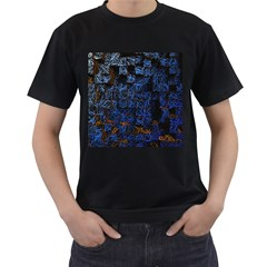 Background Abstract Art Pattern Men s T Shirt (black) (two Sided)