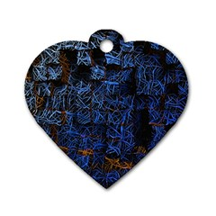 Background Abstract Art Pattern Dog Tag Heart (One Side)