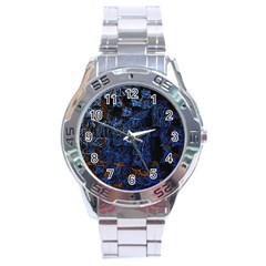 Background Abstract Art Pattern Stainless Steel Analogue Watch