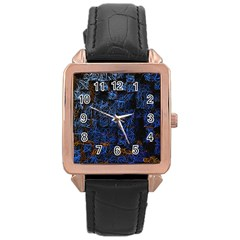 Background Abstract Art Pattern Rose Gold Leather Watch