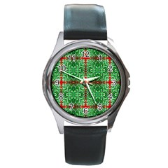 Geometric Seamless Pattern Digital Computer Graphic Round Metal Watch