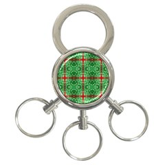 Geometric Seamless Pattern Digital Computer Graphic 3 Ring Key Chains